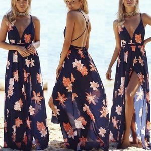 3 LEFT! Fun in the Sun, Navy Floral maxi